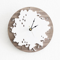 Rain Drop Clock- Rainy Day Wall Clock with Cloud, Rain drop, Umbrella, Birds