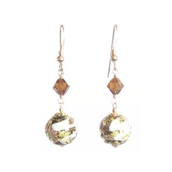 Murano Glass Brown Copper Ball Gold Earrings, Dangle Clip Ons