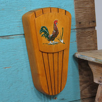 Rooster Wooden Knife Holder Rack • Circa 1950s • Kitsch Chicken • Mid Century Knife Block