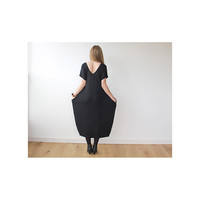 Black Maxi Knitted dress , Short sleeves dress , Black maxi dress , Casual black dress