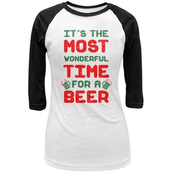 PEAPGQ9 Christmas Most Wonderful Time for a Beer Juniors 3/4 Sleeve Raglan T Shirt