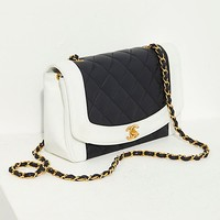 Vintage Chanel Black and White Quilted Crossbody