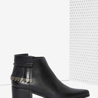Grey City Wilma Leather Fringe Bootie