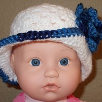 White Cloche Hat with Blue Flower