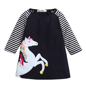 New 2018 summer girl dress Toddler Baby Girl Kid Spring Clothes Horse Stripe Print Princess Party Dress dropshipping
