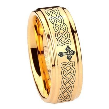 8MM Glossy Gold Step Edges Celtic Cross Tungsten Carbide Laser Engraved Ring