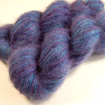 Hand Dyed Yarn - Superfine Kid Mohair / Silk Yarn (Lightweight) - Potluck Blue Violet - Limited Edition - Knitting Yarn, Mohair Yarn