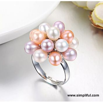 Sterling silver Natural pearl clustered adjustable Finger ring