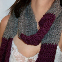 Winter warm scarf, Ladies Purple and gray handcrafted neckwarmer/wrap