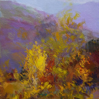 Small Landscape Painting - Yellow Lilac Canvas Art - Impressianist Art by Yuri Pysar