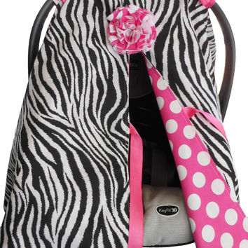 Car Seat canopy cover Cuddler -- READY to SHIP Zebra with Pink Polka Dot seat cover canopy tent baby infant