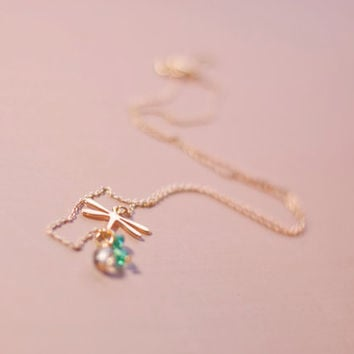 Sparkling Dragonfly Golden Necklace