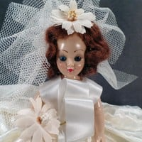 Vintage Dolls of All Nations – Old Bride Doll with Original Box – Auburn Hair and Blue Eyes