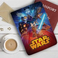 Disney Mickey Mouse Star Wars Leather Passport Wallet Case Cover