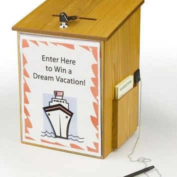 "10.1"" x 13.9"" x 9.5"" Wooden Ballot Box w/ Sign Holder, Side Pocket, Pen Lock, Wall or Counter - Oak 19254"