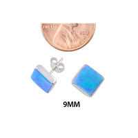 Women's Sterling Silver 9mm Square Opal Gemstone Stud Earrings Blue Green Color