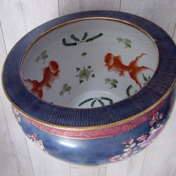 Chinese Porcelain Blue Fish Bowl Enameling Pink Flowers