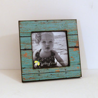 5x5 Square Wood Photo Frame Weathered Rustic Turquoise