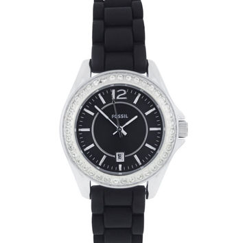 Fossil ES2982 Women's Black Dial Silicon Rubber Strap Crystal Watch