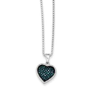 Blue Diamond 12mm Heart Necklace in Rhodium Plated Sterling Silver