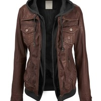 LL Womens 2-For-One Hooded Faux leather Jacket
