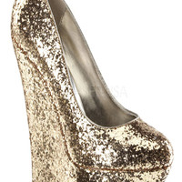Gold Round Closed Toe Platform Glitter Wedge Pump