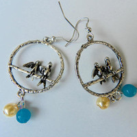 Bird Charm Earrings Lovebird Earrings Beaded  Perched Bird Earrings