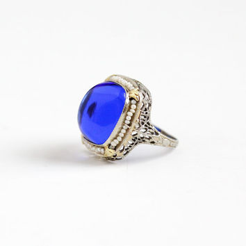 Antique Art Deco 14k White Gold Simulated Sapphire & Seed Pearl Ring - Size 5 1/4 Vintage 1920s Filigree Blue Glass Fine Sugarloaf Jewelry