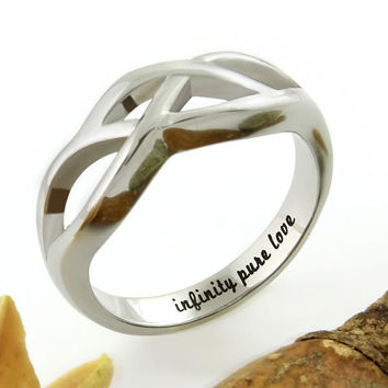 "Infinity Ring - Pure Love Ring Engraved on Inside with ""Infinity Pure Love"""
