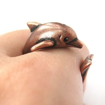Dolphin Sea Animal 3D Wrap Around Realistic Ring in Copper | Size 5 to 10