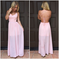 Timeless Beauty Crochet Maxi Dress - Blush Pink