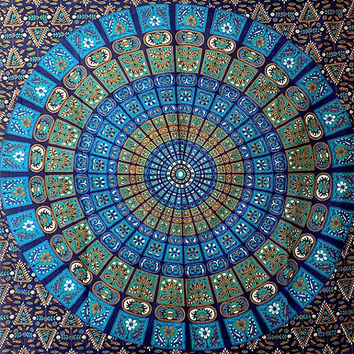 TWIN Blue Mandala Tapestry Wall Hanging Hippie Bohemian Bedding Throw Indian Bedpsread Ethnic Home Decor