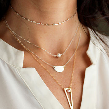 Triangle Outline Necklace - Gold Vermeil - Christine Elizabeth Jewelry