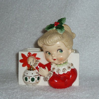 Vintage 1950s NAPCO Christmas GIRL Ornament Headvase Planter Head Vase Lefton 1950s Japan