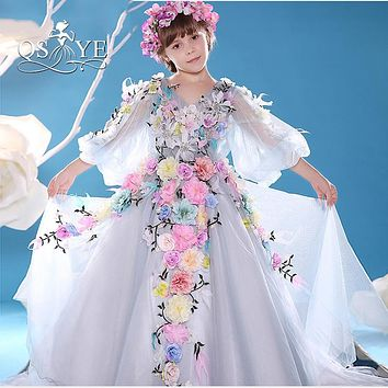 2017 New Fashion Vintage Flower Girl Dresses with 3D Handmade Flowers A-line V Neck Long Sleeves Girl Communion Dress Real Photo