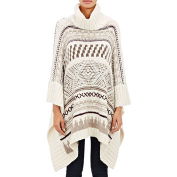 Cream Patterned Poncho