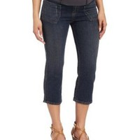Maternal America Women's Maternity Capri Jean,Blue Denim,Medium
