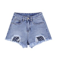 KJ87 Shorts Cintura Alta Women Denim Shorts Female Hot Shorts High Waist Shorts Feminino Jeans
