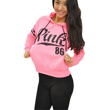 Women Fashion Pink Hoodie Sweatshirt