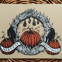Harvest Greetings. LIMITED EDITION handmade screen print. original artwork on light brown paper.