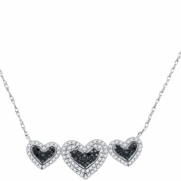 10kt White Gold Women's Round Black Color Enhanced Diamond Triple Framed Heart Pendant Necklace 3-8 Cttw - FREE Shipping (US/CAN)