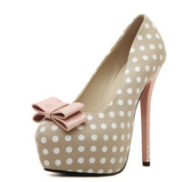 Cute Polka Dot Ribbon Pump High Heels