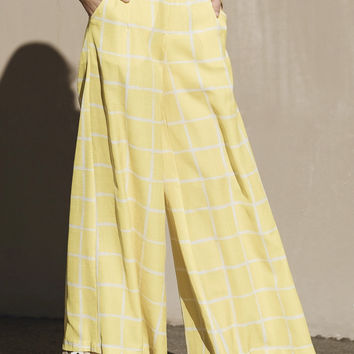 Yellow Grid Wide Pants