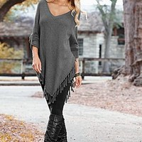 Women's Fringe sweater poncho by VENUS