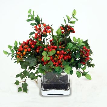 Waterlook (r) Red Wild Berries and Mountain Ivy In Square Glass Vase