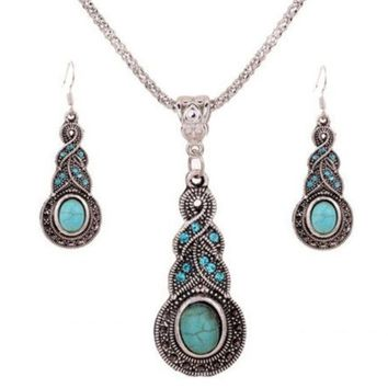 ONETOW cheap Vintage Jewelry Tibetan Silver Turquoise Rhinestone Earring Dangle Necklace Set = 1946370116