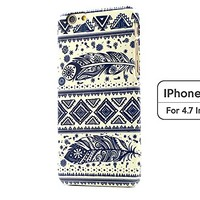 Sky2light,classical iphone 6 case,art iphone 6 cover,feather iphone 6,blue design case,4.7 inch iphone 6 cover,gift case