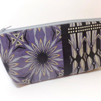 Medium Cotton Zipper  Pouch Clutch Toiletry Bag Grey and Black Medallion Print