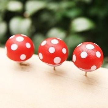 Novelty Polka Dots Mushroom Shape Wooden Pushpin Thumbtack Pins Decorative DIY Tool Wholesale
