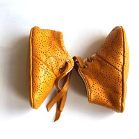 0-3 Months Slippers / Baby Shoes Lamb Leather  Mustard  OwO SHOES